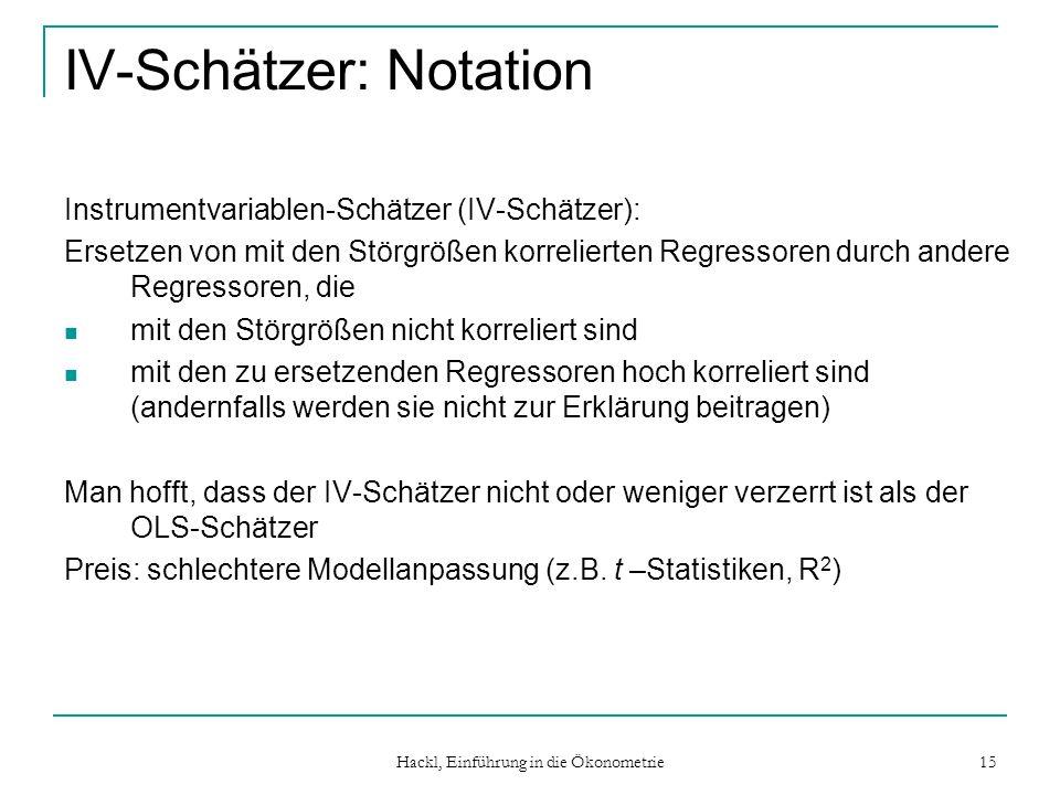 IV-Schätzer: Notation