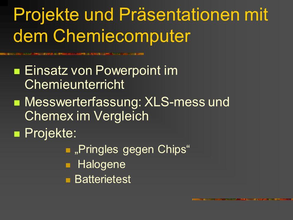 Projekte und Präsentationen mit dem Chemiecomputer