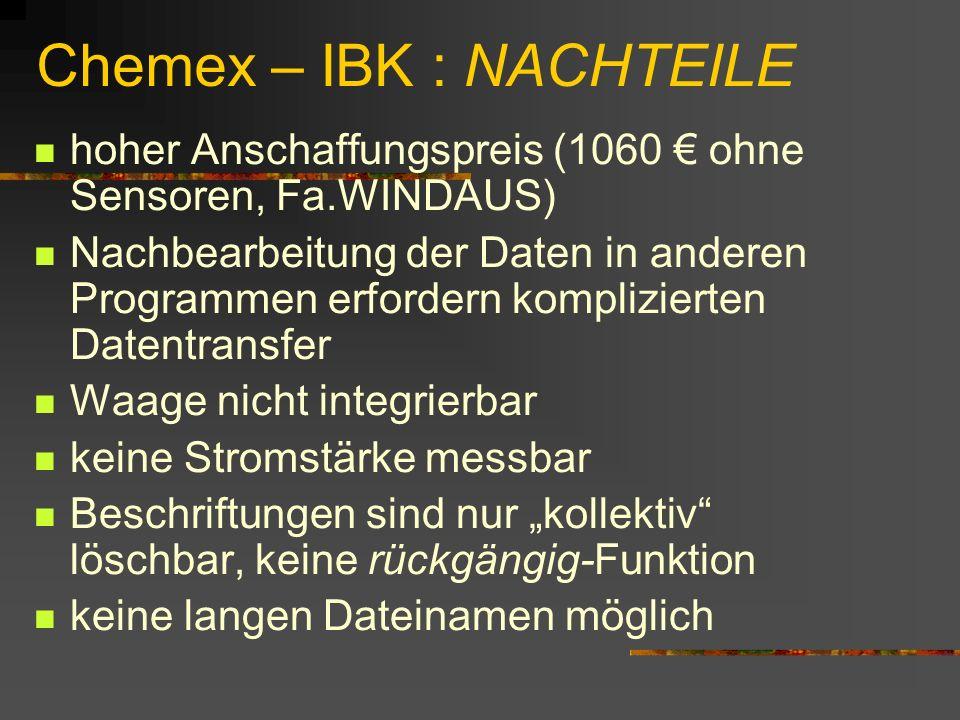 Chemex – IBK : NACHTEILE