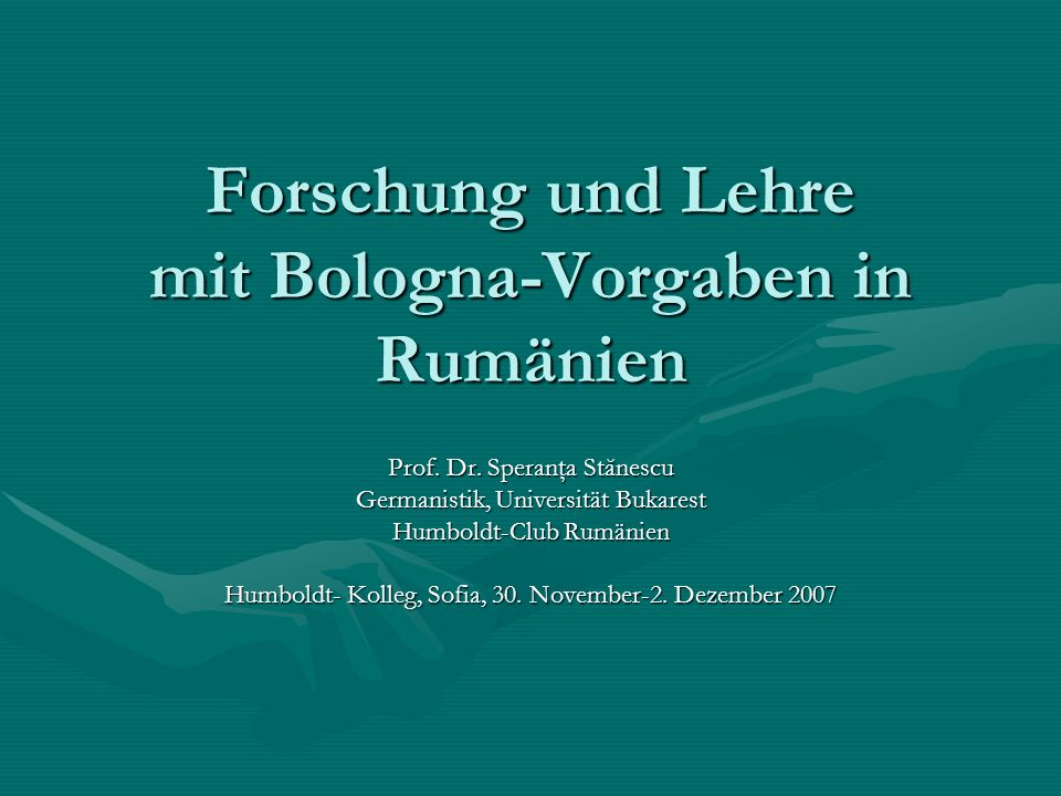 Forschung und Lehre mit Bologna-Vorgaben in Rumänien
