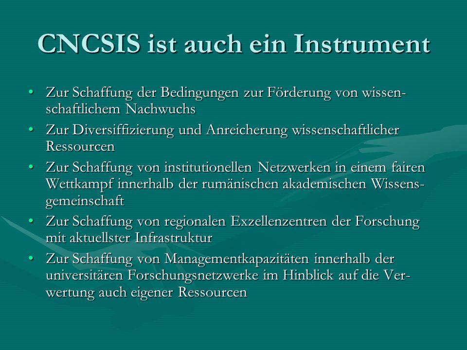 CNCSIS ist auch ein Instrument