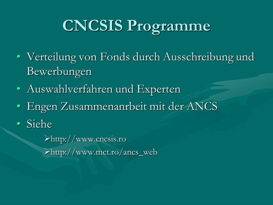 CNCSIS Programme Verteilung von Fonds durch Ausschreibung und Bewerbungen. Auswahlverfahren und Experten.