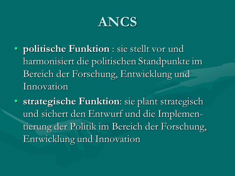 ANCS politische Funktion : sie stellt vor und harmonisiert die politischen Standpunkte im Bereich der Forschung, Entwicklung und Innovation.