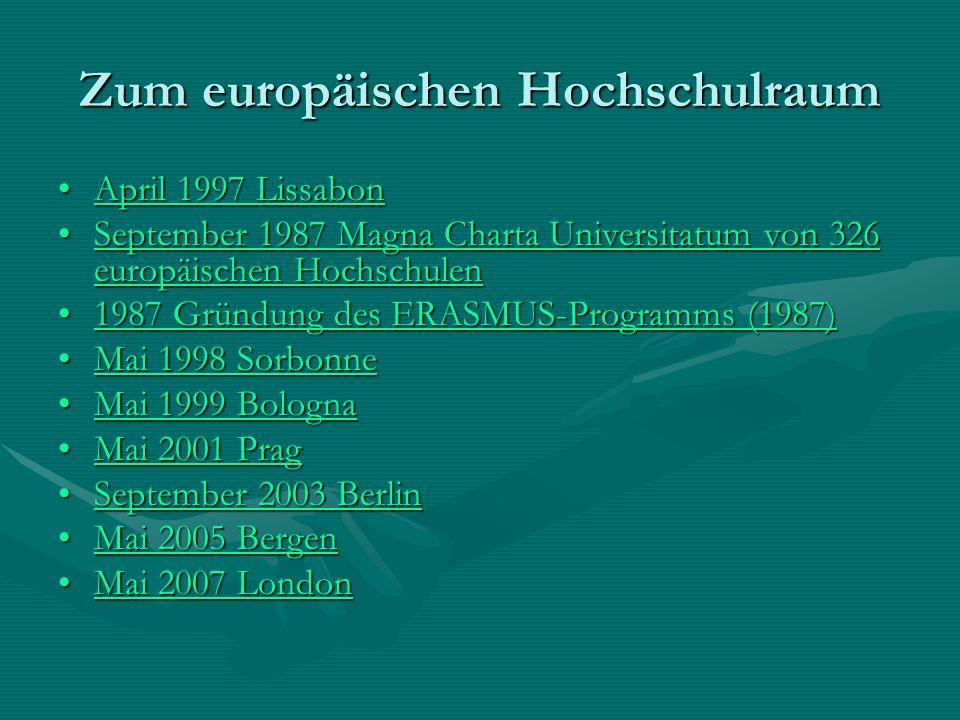Zum europäischen Hochschulraum