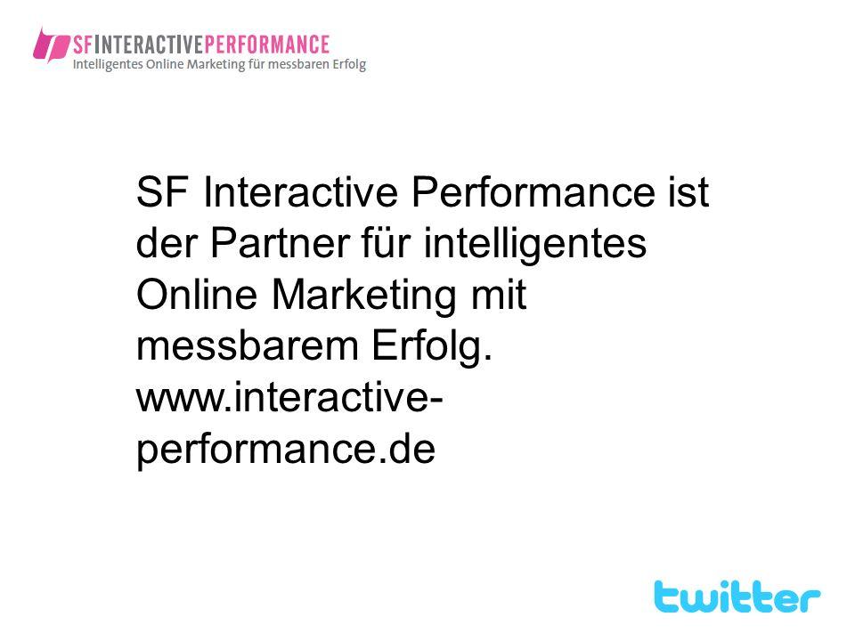 SF Interactive Performance ist der Partner für intelligentes Online Marketing mit messbarem Erfolg.