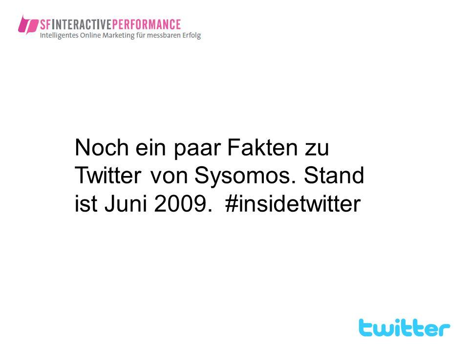 Noch ein paar Fakten zu Twitter von Sysomos. Stand ist Juni 2009