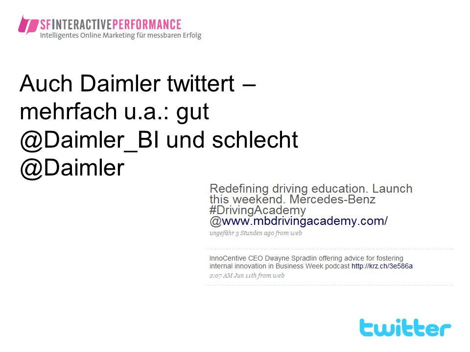 Auch Daimler twittert – mehrfach u. a