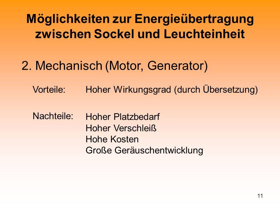 Möglichkeiten zur Energieübertragung zwischen Sockel und Leuchteinheit