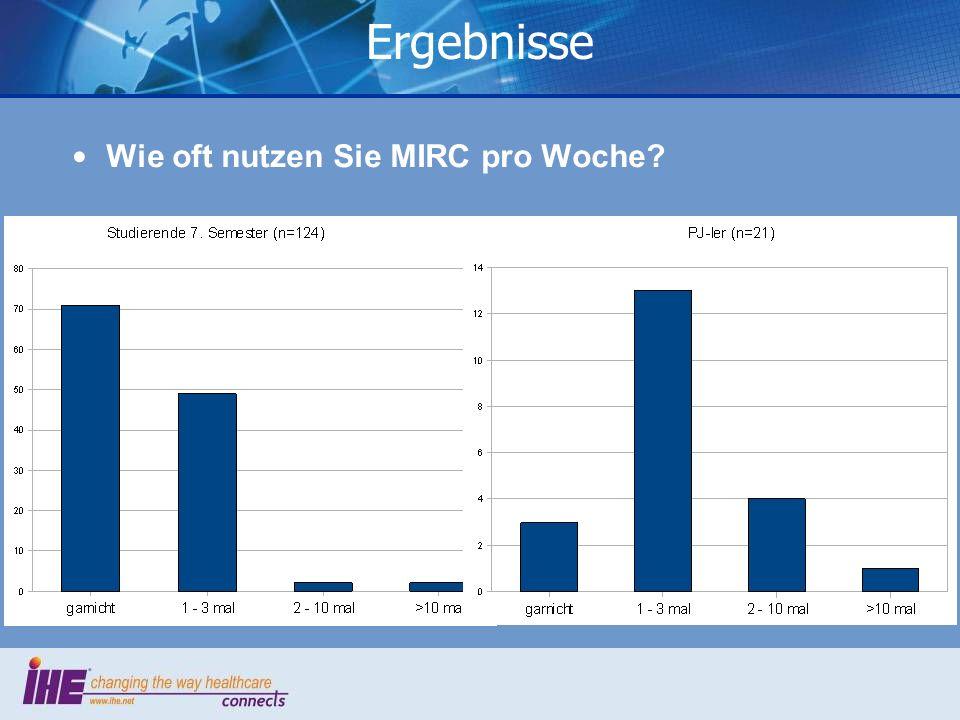 Ergebnisse Wie oft nutzen Sie MIRC pro Woche
