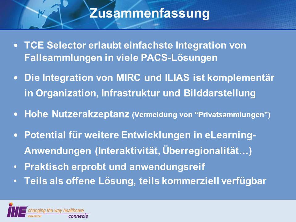 Zusammenfassung TCE Selector erlaubt einfachste Integration von Fallsammlungen in viele PACS-Lösungen.
