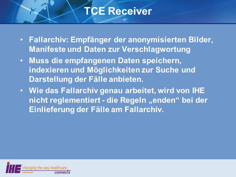 TCE Receiver Fallarchiv: Empfänger der anonymisierten Bilder, Manifeste und Daten zur Verschlagwortung.