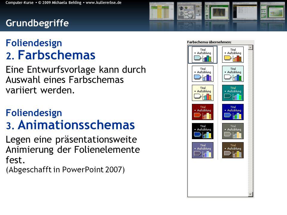 Grundbegriffe Foliendesign 2. Farbschemas. Eine Entwurfsvorlage kann durch Auswahl eines Farbschemas variiert werden.