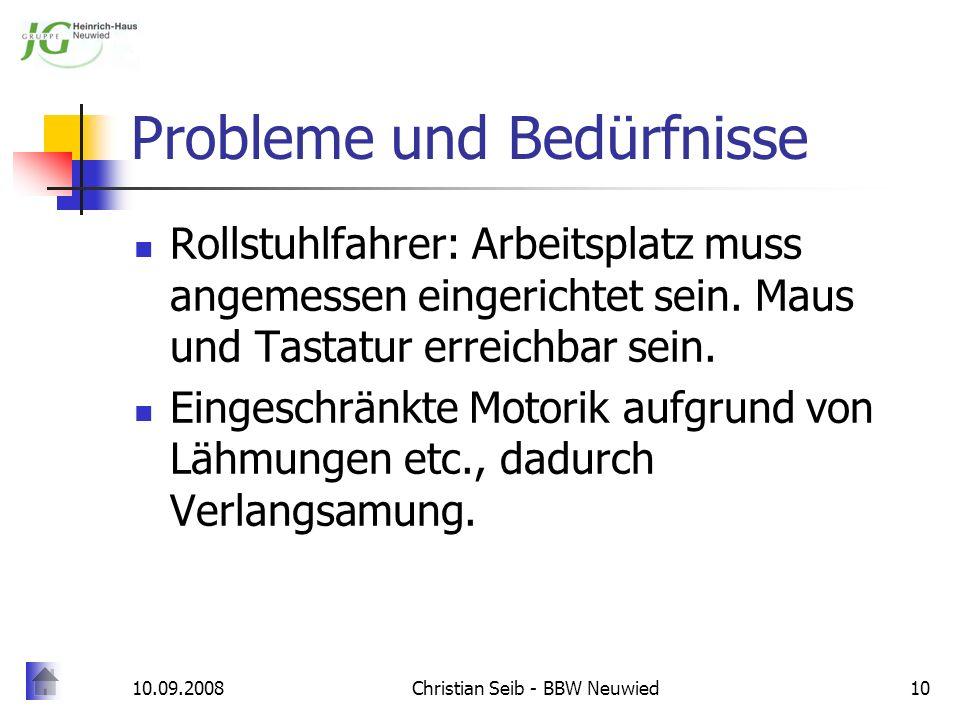 Probleme und Bedürfnisse