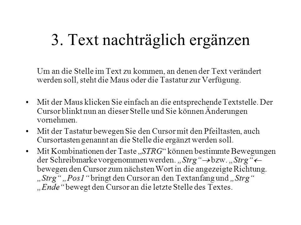 3. Text nachträglich ergänzen