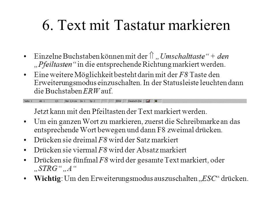6. Text mit Tastatur markieren