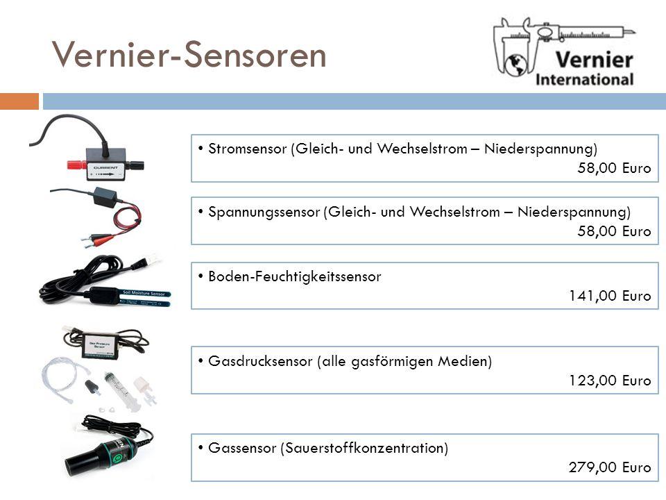 Vernier-Sensoren Stromsensor (Gleich- und Wechselstrom – Niederspannung) 58,00 Euro. Spannungssensor (Gleich- und Wechselstrom – Niederspannung)