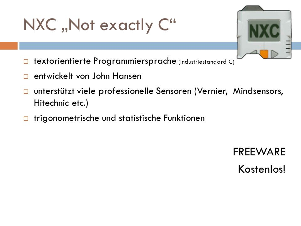 "NXC ""Not exactly C FREEWARE Kostenlos!"