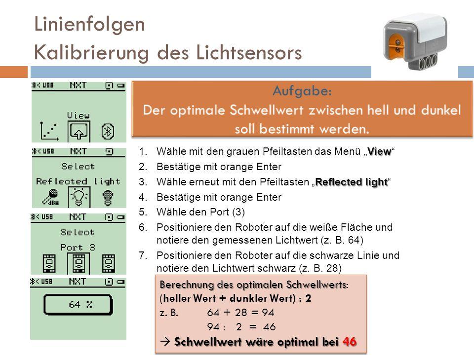 Linienfolgen Kalibrierung des Lichtsensors