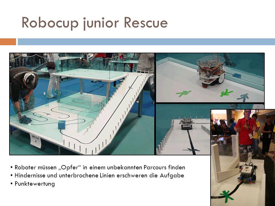 """Robocup junior Rescue Roboter müssen """"Opfer in einem unbekannten Parcours finden. Hindernisse und unterbrochene Linien erschweren die Aufgabe."""