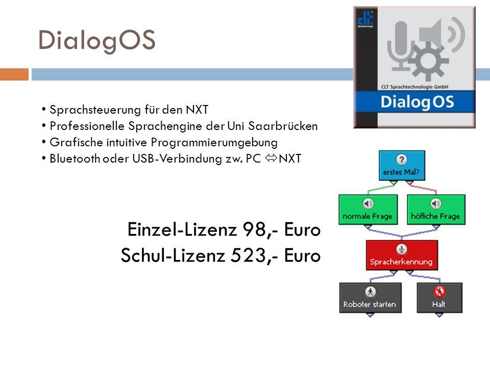 DialogOS Einzel-Lizenz 98,- Euro Schul-Lizenz 523,- Euro