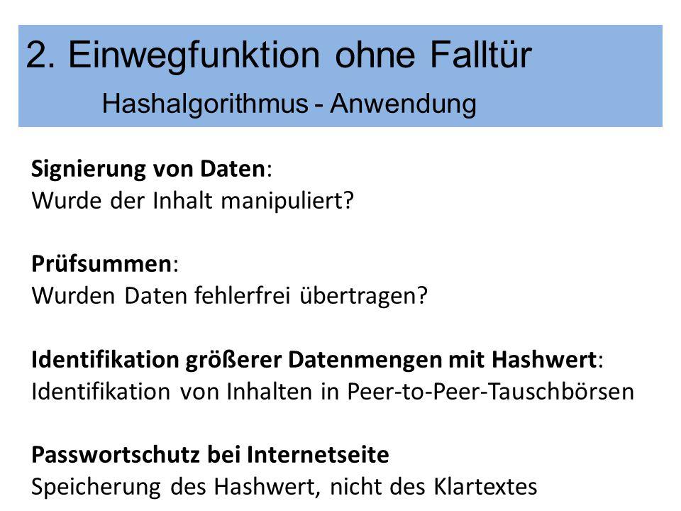 2. Einwegfunktion ohne Falltür Hashalgorithmus - Anwendung