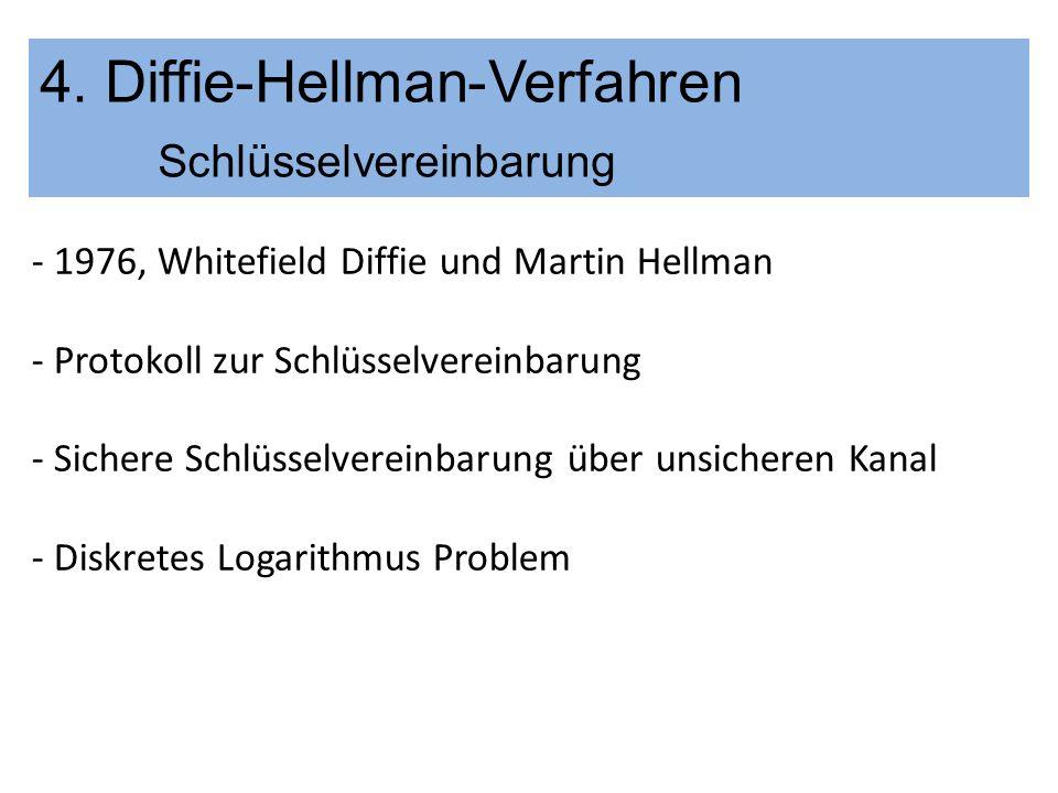 4. Diffie-Hellman-Verfahren Schlüsselvereinbarung