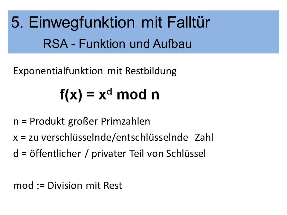 5. Einwegfunktion mit Falltür RSA - Funktion und Aufbau