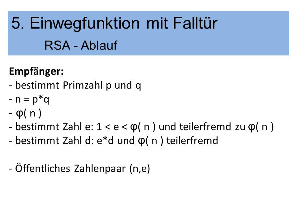 5. Einwegfunktion mit Falltür RSA - Ablauf