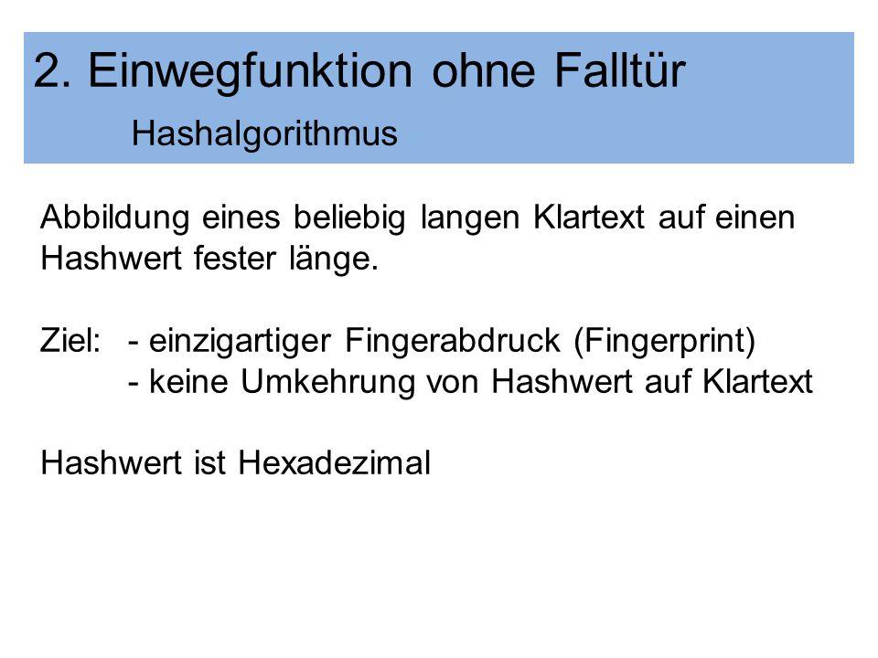 2. Einwegfunktion ohne Falltür Hashalgorithmus