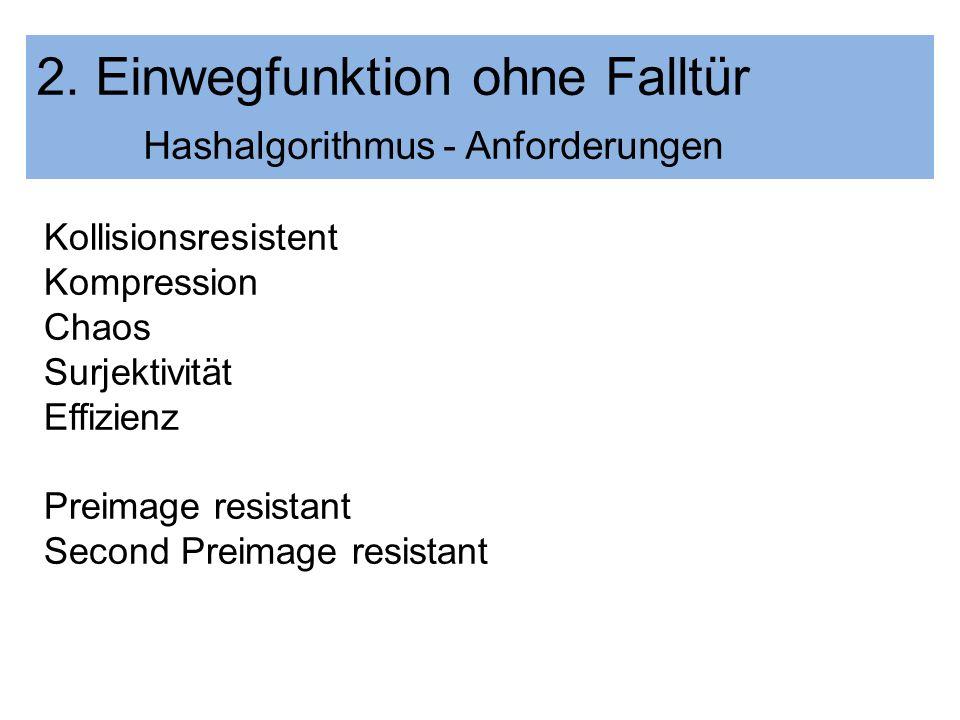 2. Einwegfunktion ohne Falltür Hashalgorithmus - Anforderungen