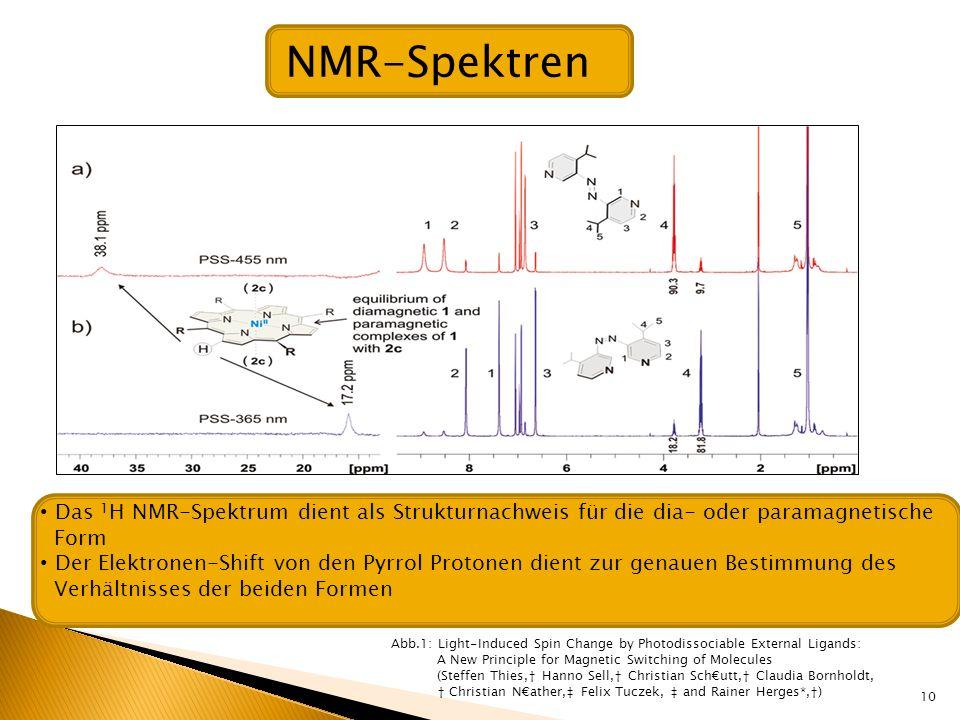 NMR-SpektrenDas 1H NMR-Spektrum dient als Strukturnachweis für die dia- oder paramagnetische. Form.