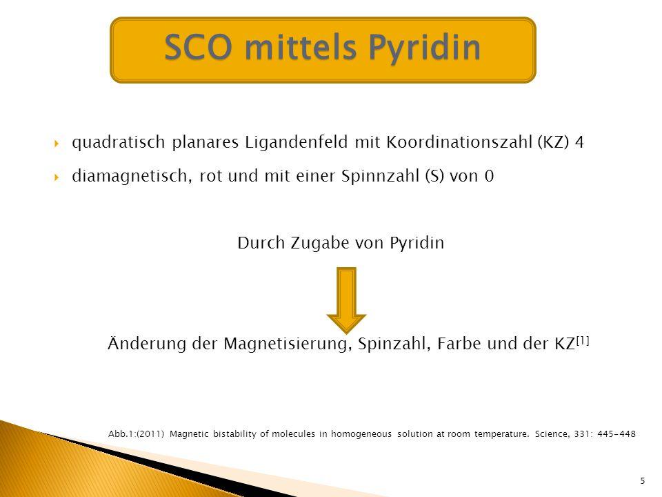 SCO mittels Pyridin quadratisch planares Ligandenfeld mit Koordinationszahl (KZ) 4. diamagnetisch, rot und mit einer Spinnzahl (S) von 0.