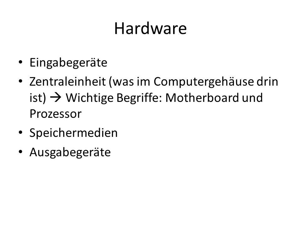 Hardware Eingabegeräte