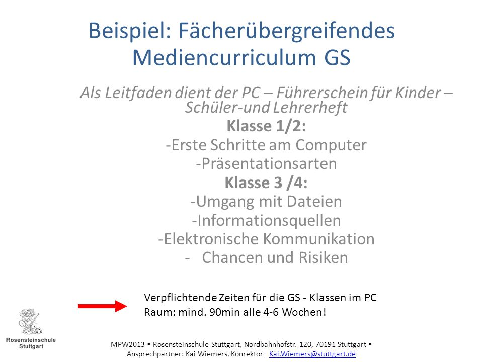 Beispiel: Fächerübergreifendes Mediencurriculum GS