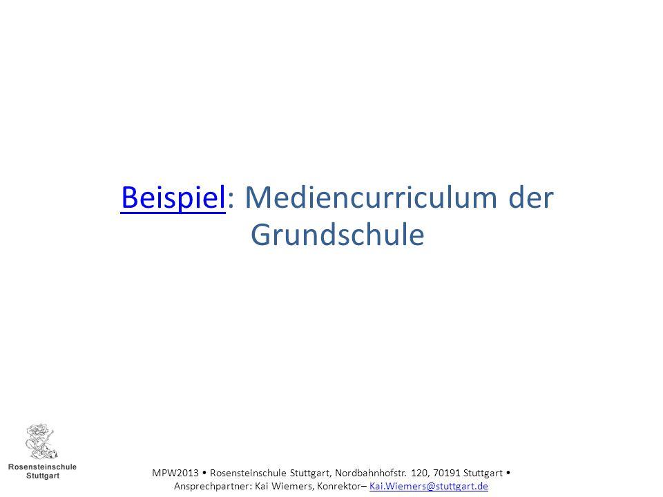 Beispiel: Mediencurriculum der Grundschule