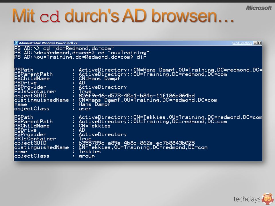 Mit cd durch s AD browsen…