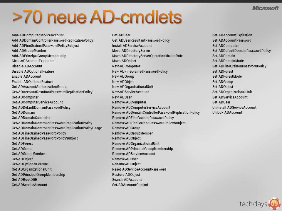 >70 neue AD-cmdlets Add-ADComputerServiceAccount Get-ADUser