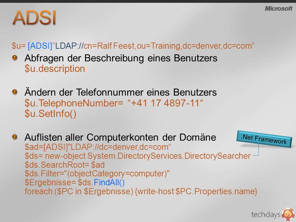 ADSI Abfragen der Beschreibung eines Benutzers $u.description