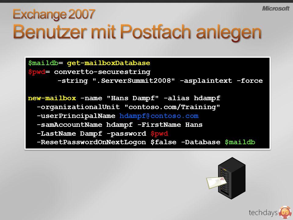 Exchange 2007 Benutzer mit Postfach anlegen
