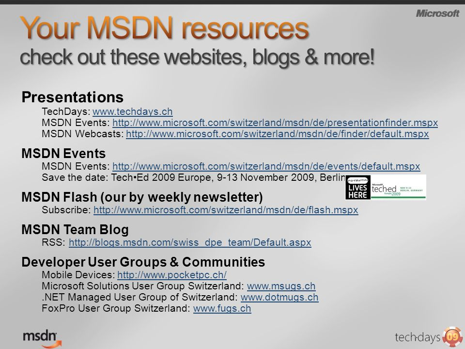 Your MSDN resources check out these websites, blogs & more!