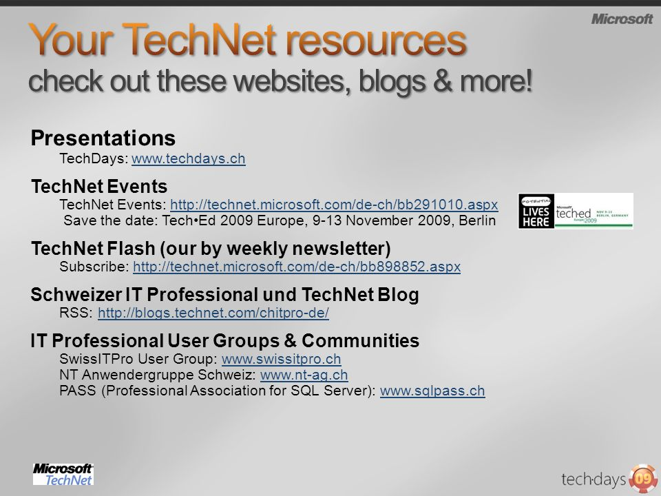 Your TechNet resources check out these websites, blogs & more!