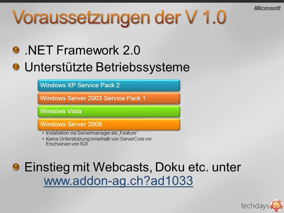 Voraussetzungen der V 1.0 .NET Framework 2.0