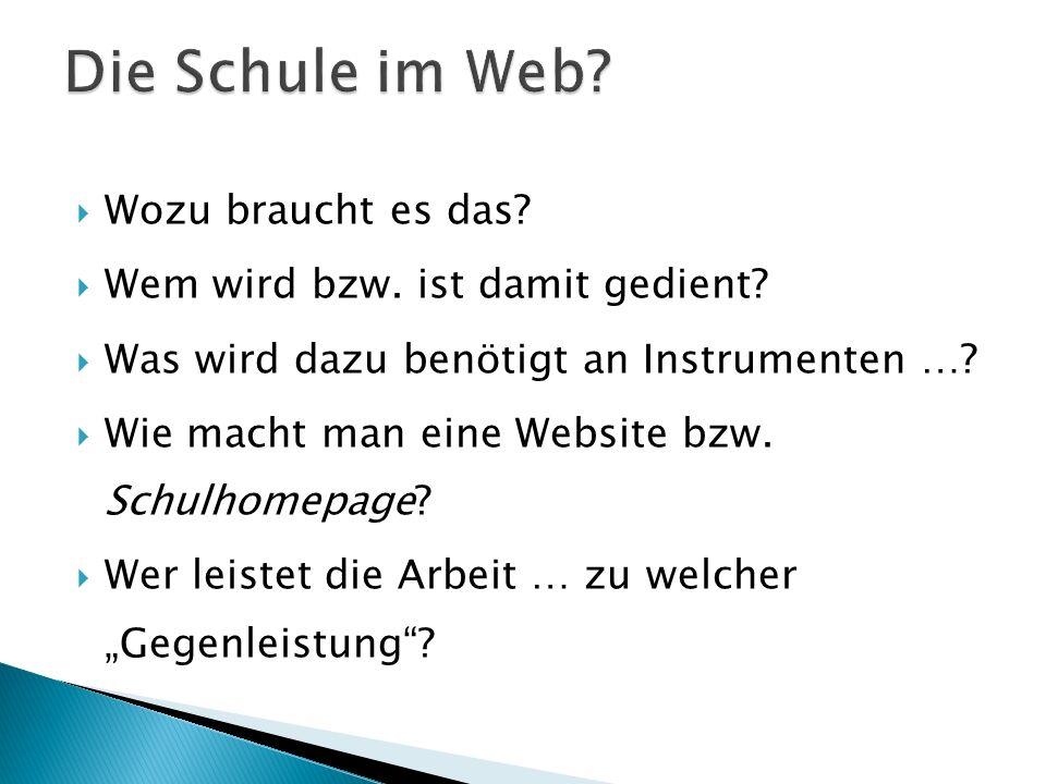 Die Schule im Web Wozu braucht es das