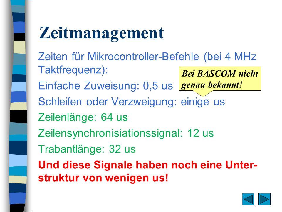 Zeitmanagement Zeiten für Mikrocontroller-Befehle (bei 4 MHz Taktfrequenz): Einfache Zuweisung: 0,5 us.