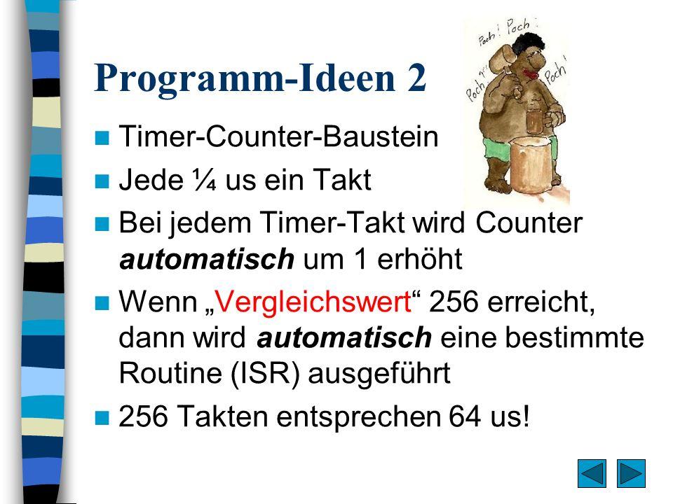 Programm-Ideen 2 Timer-Counter-Baustein Jede ¼ us ein Takt