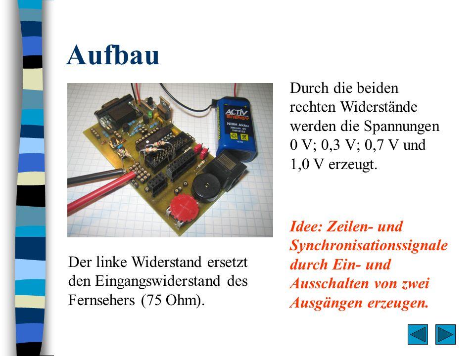 AufbauDurch die beiden rechten Widerstände werden die Spannungen 0 V; 0,3 V; 0,7 V und 1,0 V erzeugt.