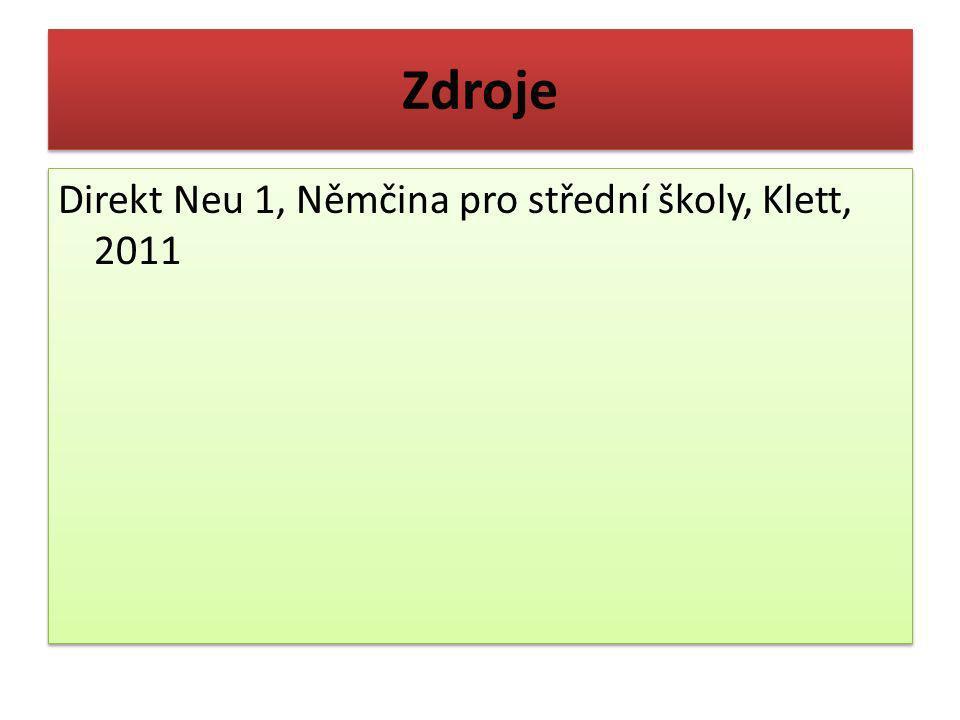Zdroje Direkt Neu 1, Němčina pro střední školy, Klett, 2011