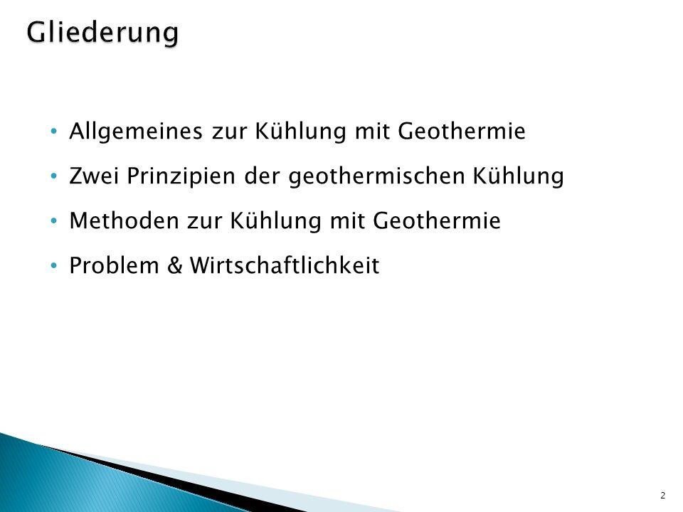 Gliederung Allgemeines zur Kühlung mit Geothermie