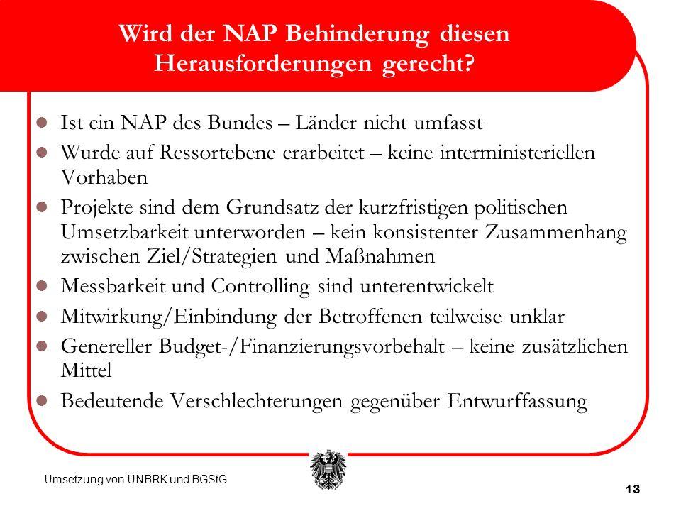 Wird der NAP Behinderung diesen Herausforderungen gerecht