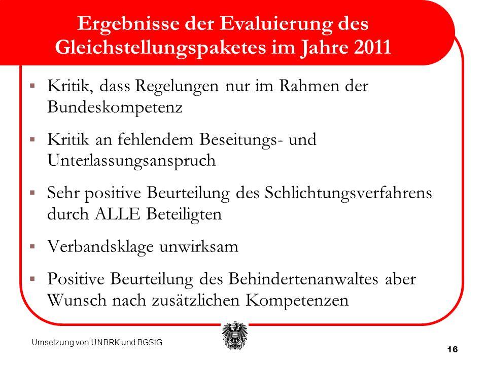 Ergebnisse der Evaluierung des Gleichstellungspaketes im Jahre 2011